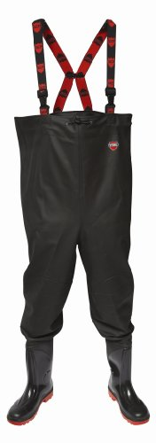 VITAL VW163R River Black PVC Chest Waders with PVC Wellington Boots Steel Toe Cap and Midsole Protection