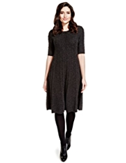 Per Una Cable Knit Fit & Flare Dress with Wool