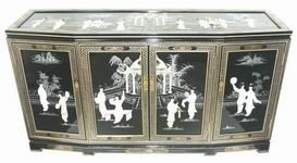 "Asian Furniture & Décor - 60"" Fine Chinese Black Lacquer Slant Front Buffet Cabinet Credenza w/ MOP"