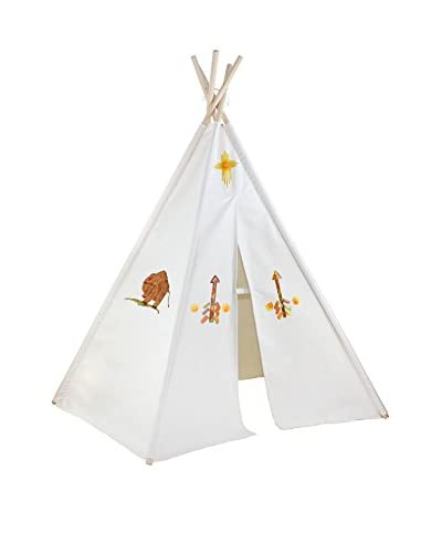 Dexton Kid's 6' Hideaway Five Panel Teepee with Washable Markers, Natural