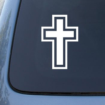 CROSS CHRITIAN JESUS GOD - Car, Truck, Notebook, Vinyl Decal Sticker #1980 | Vinyl Color: White