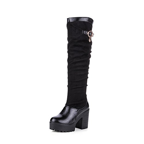 Voguezone009 Ladys Round Closed Toe High Heel Frosted Pu Solid Boots With Glass Diamond And Metalornament, Black, 35