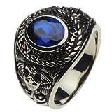 【ホワイトメタルアクセサリー リング・指輪】 カレッジリング ブルースピネル イーグル cenote-r5012