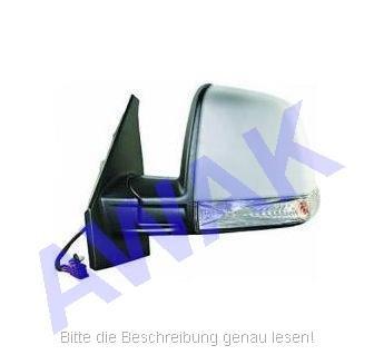 Fiat Doblo II 10- Aussenspiegel (links=Fahrerseite) el.betätigt, beheizbar, Gehäuse-grundiert, mit Blinker, single Glas-convex [E] [H] [P] [CV] [LMP] [L]