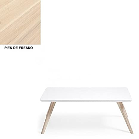 Mesa de centro lacado blanco mate. Pies en madera maciza de fresno., Selección Cabana