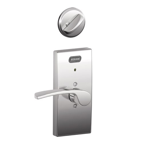 Schlage Fe59 Mer 625 Cen Rh Built-In Alarm, Century Collection Merano Interior Lever Door Lock For Right-Handed Door With Deadbolt, Bright Chrome