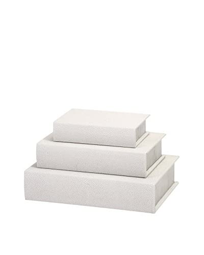 Nikki Chu Set of 3 White Shagreen Book Boxes