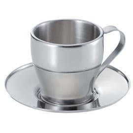 パール金属  アルゴ ダブルステンレス コーヒーカップ&ソーサー 160ml MK-4137