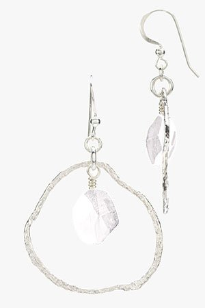 Contemporary Silver Circle Earrings with Swarovski Crystal Drop (Small) Crystal AB (Iridescent)
