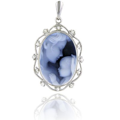 14K White Gold Framed Agate Cameo Mother Holding Baby Pendant with Diamonds - 3/4