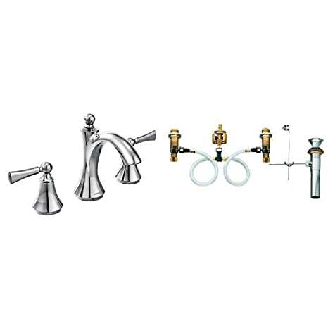 Moen T4520-9000 Wynford Polished Two-Handle High Arc Bathroom Faucet with Valve, Chrome