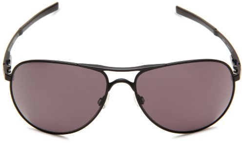Oakley Oakley Mens Plaintiff OO4057-09 Round Sunglasses,Matte Black Frame/Warm Grey Lens,One Size
