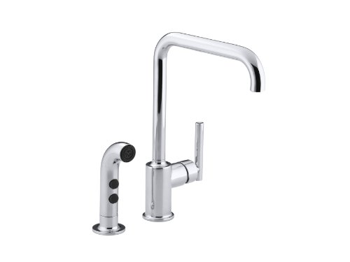 KOHLER K-7508-CP Purist Primary Swing Spout with Spray, Polished Chrome