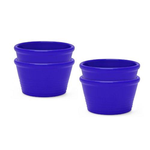 Chantal 93-Rm08Sr/4 Bi 1-Cup Stackable Individual Ramekin, Indigo Blue, Set Of 4