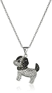 Sterling Silver Black and White Diamond Dog Pendant Necklace (1/2 cttw, J Color, I3 Clarity)