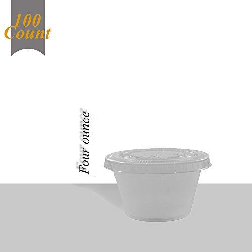 Primebaker 100 Count Durable Translucent Plastic Cups - Shot, Jello, Soufflé, Portion Disposable Cups - With Lids (4 oz) (4 Oz Freezer Containers compare prices)