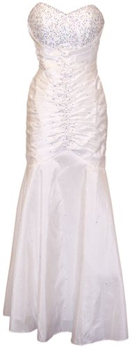 Beaded Taffeta Mermaid Prom Formal Gown Holiday Party Cocktail Dress Bridesmaid, Small, Ivory