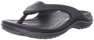 crocs Men's 12058 Duet Athens Flip Flop,Black/Graphite,Men's 4 M US/Women's 6 M US
