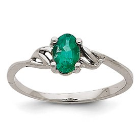 Genuine IceCarats Designer Jewelry Gift 14K White Gold Emerald Birthstone Ring Size 7.00