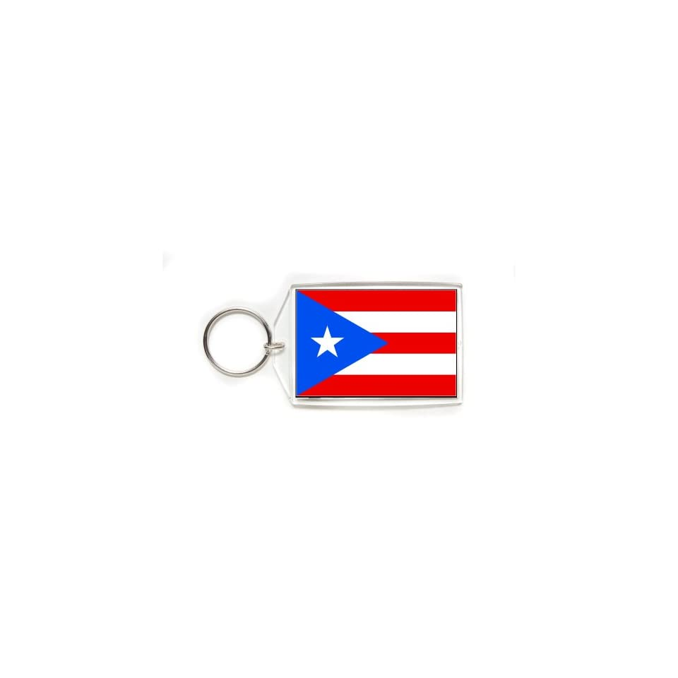 Puerto Rico Rican Flag Double Sided Acrylic Key Ring Large