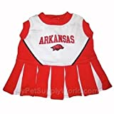 Mirage Pet Products Puppy Dog Cat Costume Arkansas Razorbacks Sports Team Logo Cheer Leading Uniform XS