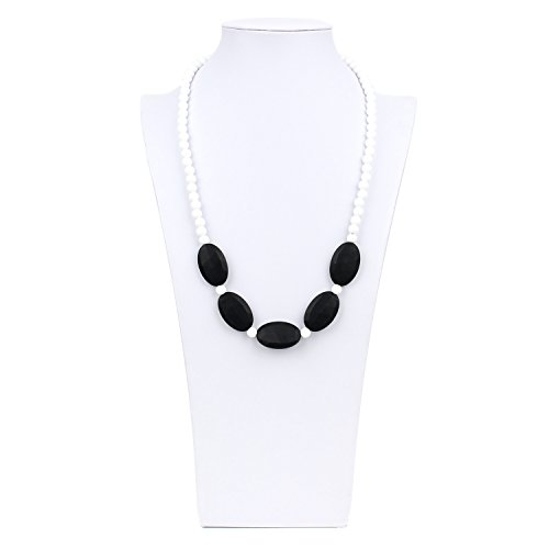 Nixi Sasso Teething Necklace, White/Black