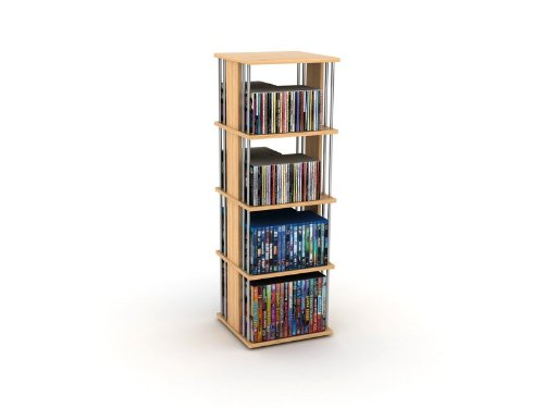 Image of Spin Multimedia Storage Shelf with Steel Rods in Maple Finish (B007AU7DG2)