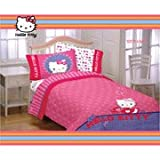 31ngByrPvOL. SL160  Hello Kitty Girls Twin Comforter & Sheet Set (4 Piece Bedding)