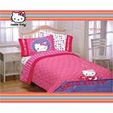 Hello Kitty Girls Twin Comforter & Sheet Set (4 Piece Bedding)