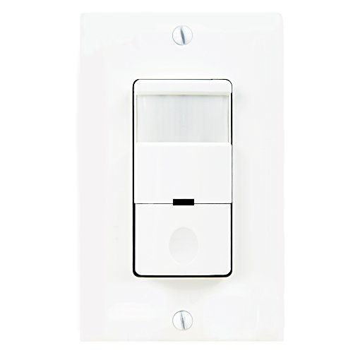 TOPGREENER TDOS5-J Motion Sensor Light Switch No Neutral Wire Required 500W/Incandescent Halogen 150W/LED CFL 500VA/Fluorescent, White (Motion Sensor Closet Light Wired compare prices)