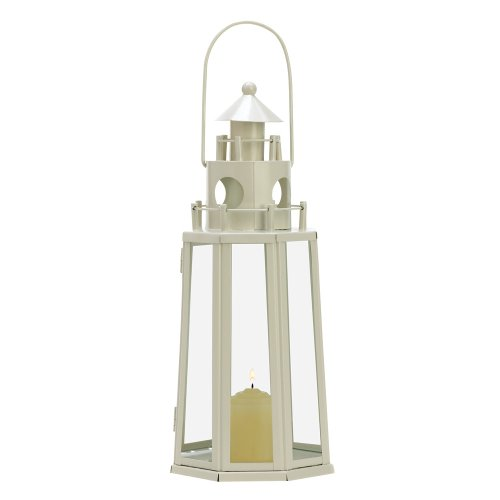 Gifts & Decor Ivory Lighthouse Candle Holder Outdoor Hanging Lantern