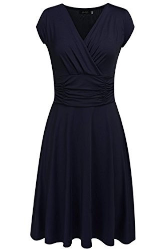 Finejo-Womens-V-Neck-Casual-Vintage-Ruched-Waist-Cocktail-Swing-Party-Dress