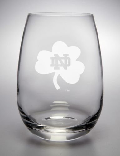 Notre Dame Fighting Irish Shamrock Deep Etched Stemless Red Wine Glass