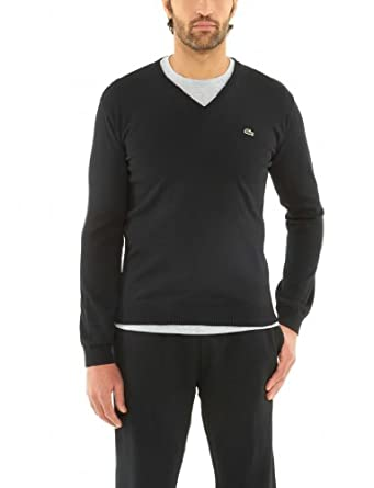 Lacoste Cotton Jersey Long Sleeve V-neck Sweater (XL, BLACK 258)