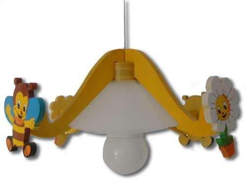 Deckenlampe Hängelampe Kinder Kinderzimmer Holz Kinderlampe Leuchte Biene Lampe 48cm Durchmesser