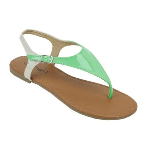 Womens Roman Gladiator Sandals Flats Thongs 2 Tone Shoes,7 B(M) US,Mint 2224