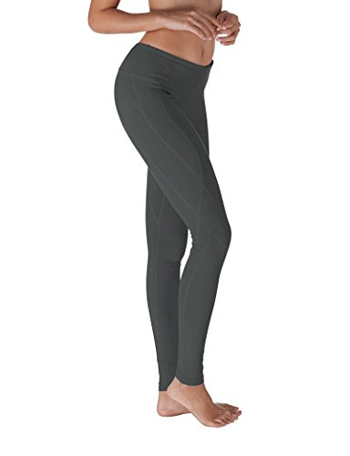 Yoga Reflex Women's Yoga Pants - Stitched Bottom - Hidden Pocket, CHARCOAL, L