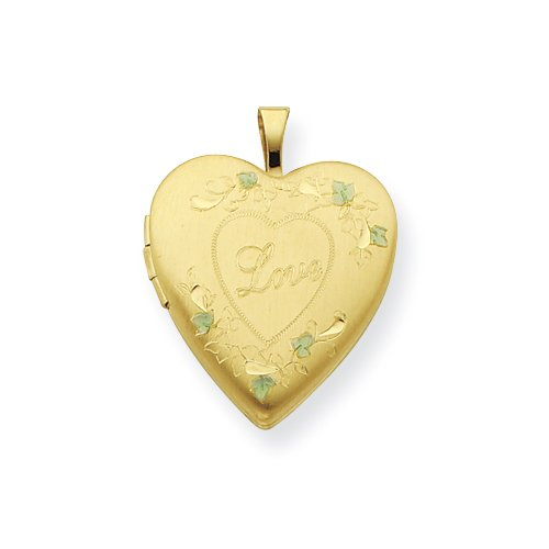 Gold Plated Sterling Silver 20mm Satin, Enameled, D/C Love Locket