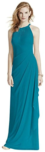 Long Mesh Bridesmaid Dress with Illusion Neckline Style F15662, Oasis, 14 (Davids Bridal Long Dress Oasis compare prices)
