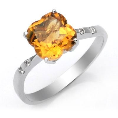 14k White Gold Clover Shaped Citrine and Diamond Ring Size 6.5