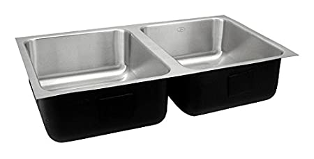 Just UDX-1832-A Double Bowl 18-Gauge T-304 Commercial Grade Stainless Steel Undermount Sink