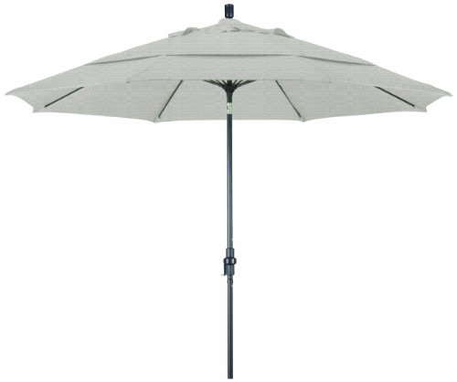 California Umbrella 11-Feet Olefin Fabric Fiberglass Rib Crank Lift Collar Tilt Aluminum Market Umbrella with Bronze Pole, Woven Granite