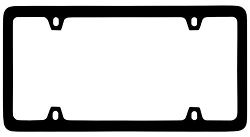 Thin Rim Only Solid Brass 4 hole License Plate Frame (Flat Black) (Black Thin License Plate Frame compare prices)