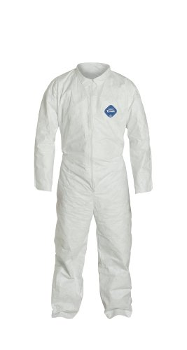 DuPont Tyvek TY120S  Disposable Coverall, Open Cuff, White, X-Large (Pack of 6)