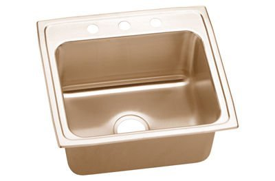 Elkao|#Elkay LRAD1522450-CU Elkay 18 Gauge Cuverro Antimicrobial copper 15 Inch x 22 Inch x 4.5 Inch single Bowl Top Mount Sink, Rear Center Drain.,