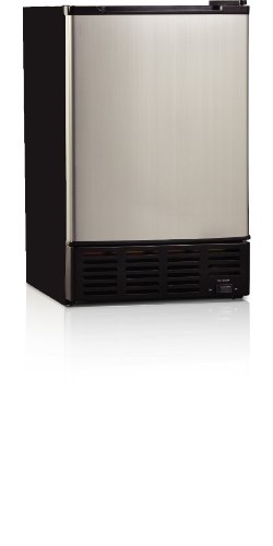 Midea Hs-36I Compact Single Reversible Door Ice Maker, 1.0 Cubic Feet, Stainless Steel