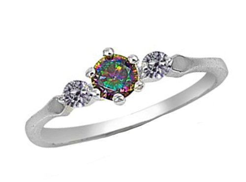 Rainbow Topaz Silver Ring/ Sz 5