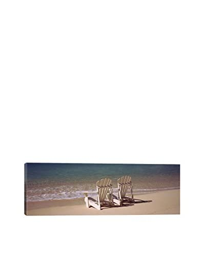 Adirondack Chair On The Beach, Bahamas Gallery Wrapped Canvas Print