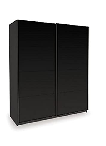 Cypheus 2 porte scorrevoli guardaroba Contemporaneo Full High Gloss Black Panels