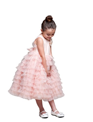 Fairy Fluff Flower Girl Party Dress With Layered Organza In 2 Colors Fancy Dress Color: Peach Dress Size: Size 7-8 front-927167